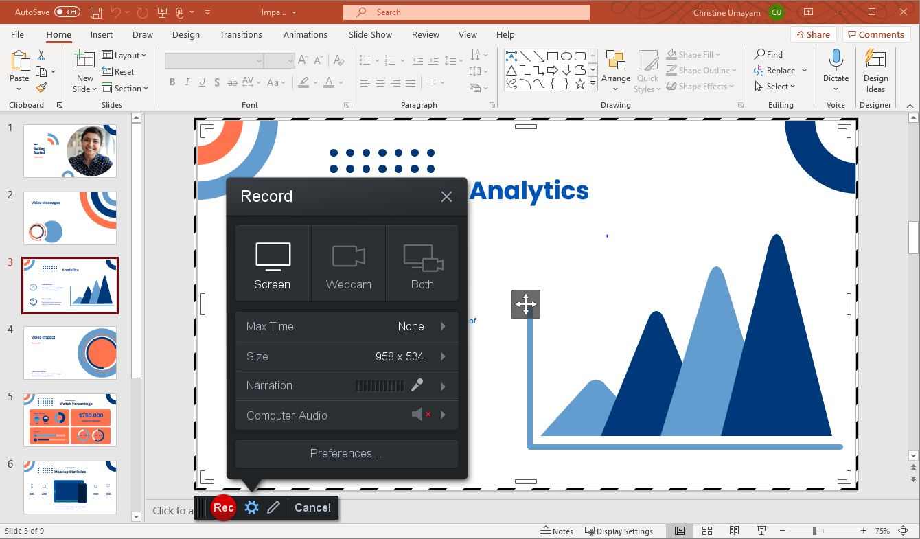 screen recording in Powerpoint