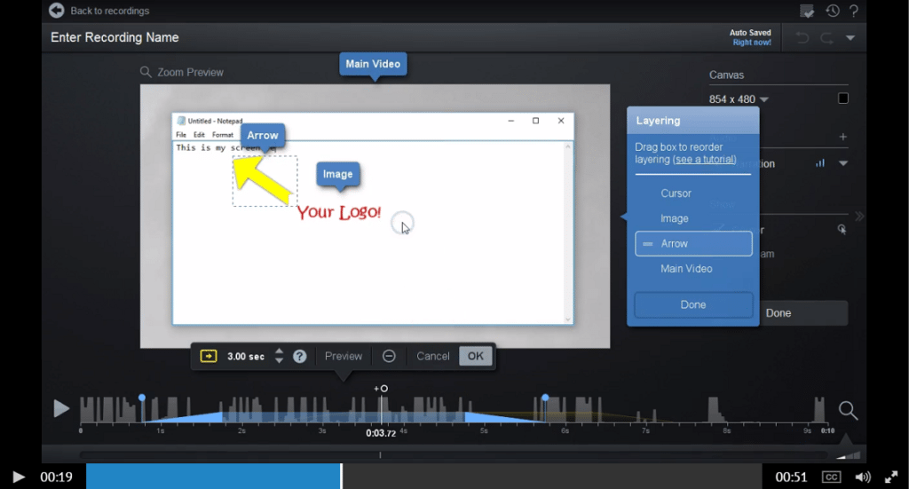Tool to Layer Text, Shapes, and Images in your Video
