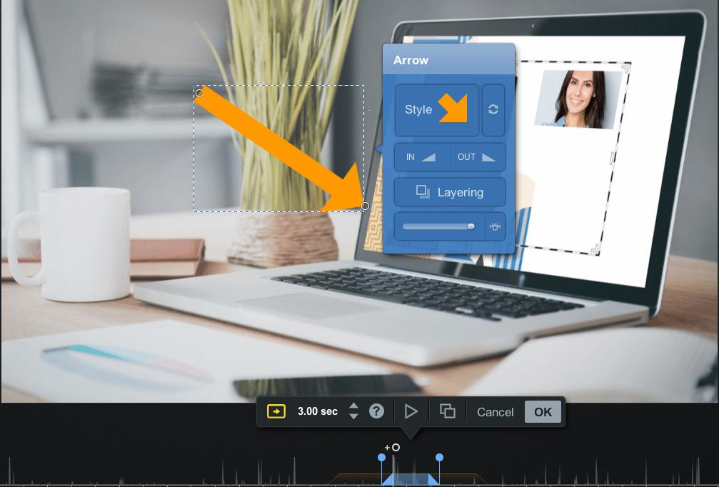 arrows in video editor