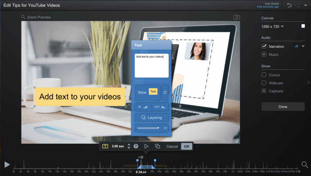 text in video editor