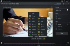 Image of Screencast-O-Matic's easy-to-use video editing software.