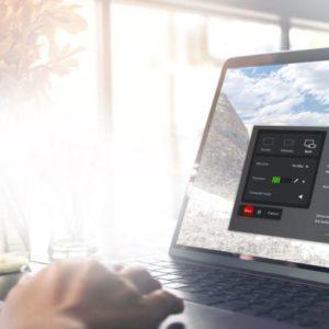 Desk scene, Chromebook computer with Screencast-O-Matic screen recorder