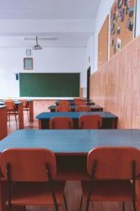 Empty classroom due to school closures