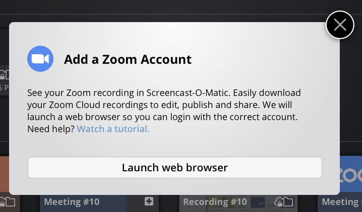 Add Zoom Account